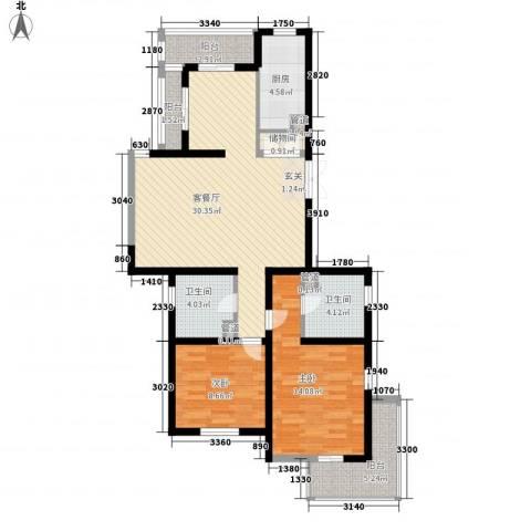 教授花园IV期碧山临海2室1厅2卫1厨113.00㎡户型图