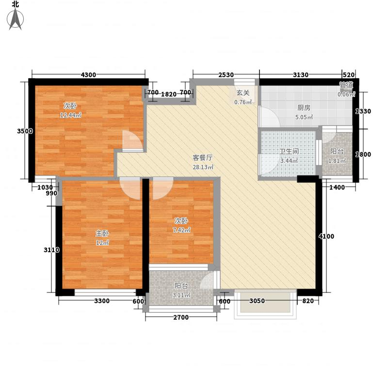 五洲国际商贸城17.32㎡B户型3室2厅1卫1厨