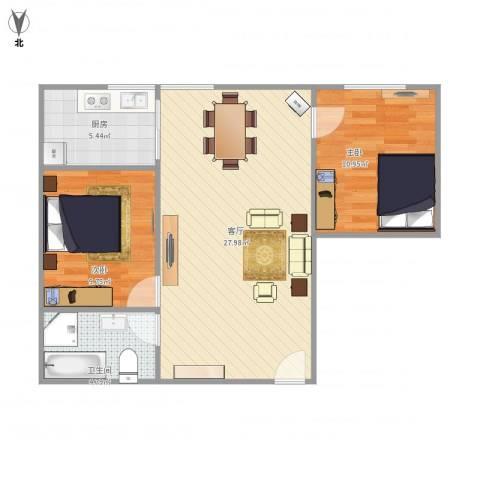 建达花园2室1厅1卫1厨79.00㎡户型图