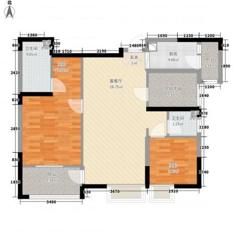 华嬉盛世2室1厅2卫1厨111.00㎡户型图