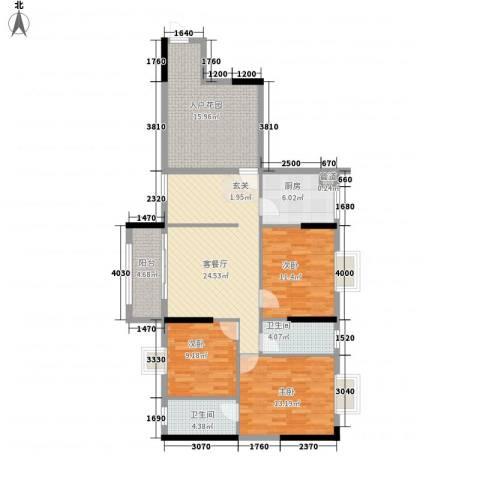 美陶花园3室1厅2卫1厨106.06㎡户型图