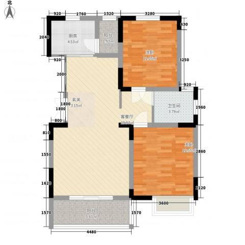 永佳・新城壹号2室1厅1卫1厨69.42㎡户型图
