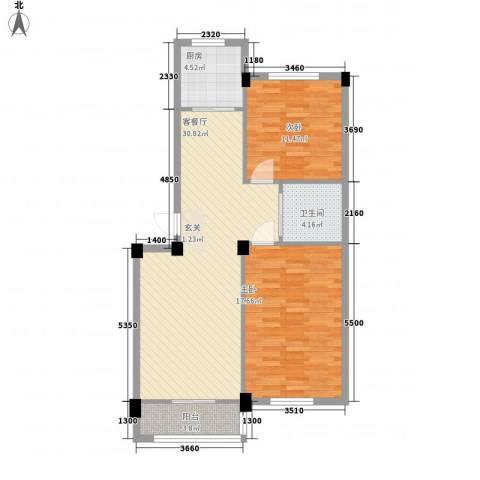 丽景家园2室1厅1卫1厨84.00㎡户型图