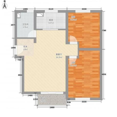 未来城2室1厅1卫1厨88.00㎡户型图