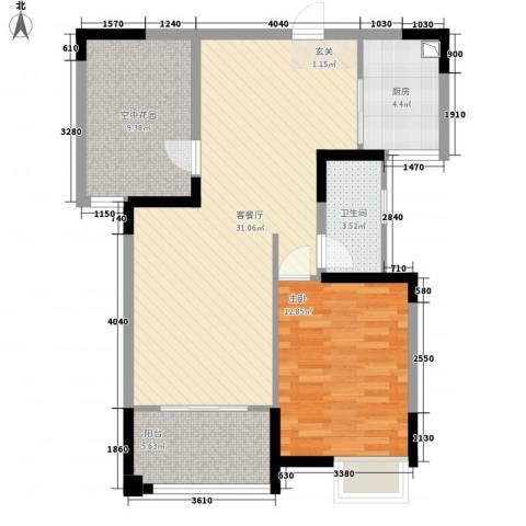 华嬉盛世1室1厅1卫1厨95.00㎡户型图