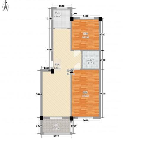 丽景家园2室1厅1卫1厨104.00㎡户型图