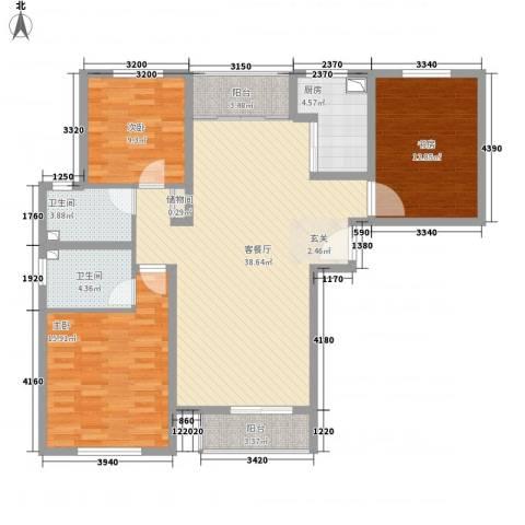未来城3室1厅2卫1厨138.00㎡户型图