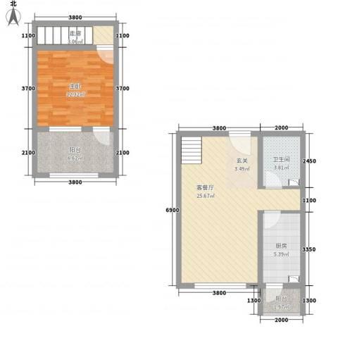 未来城1室1厅1卫1厨78.00㎡户型图