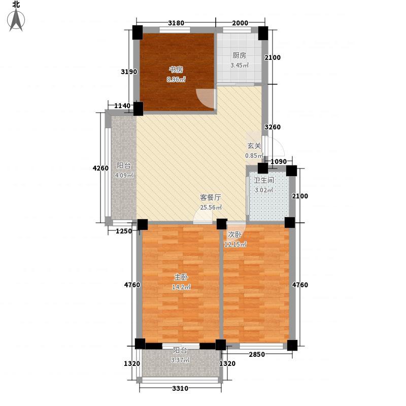 丽景家园C户型3室2厅1卫1厨