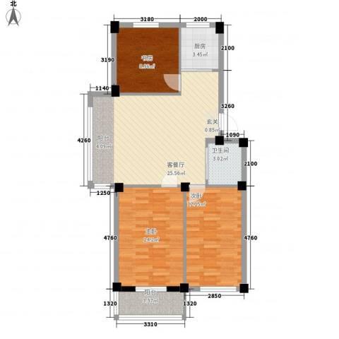 丽景家园3室1厅1卫1厨99.00㎡户型图
