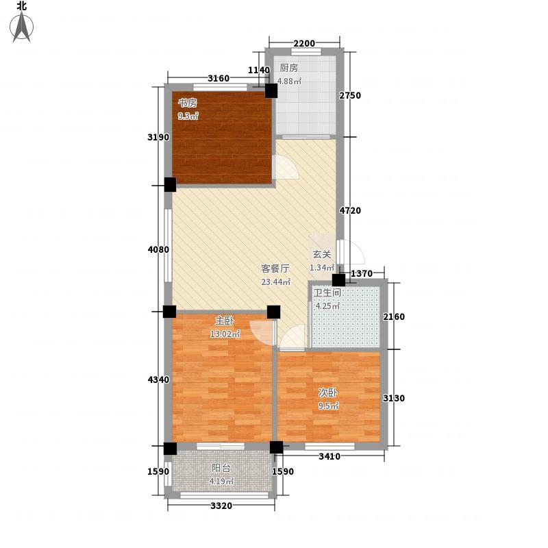 丽景家园D户型3室2厅1卫1厨