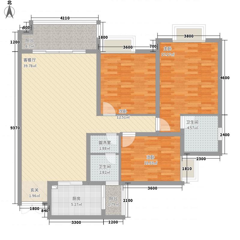 升华广场1131.20㎡1B型双卫户型3室2厅2卫1厨