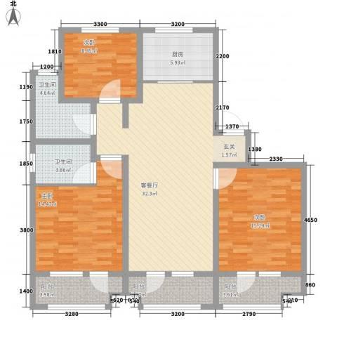 未来城3室1厅2卫1厨140.00㎡户型图