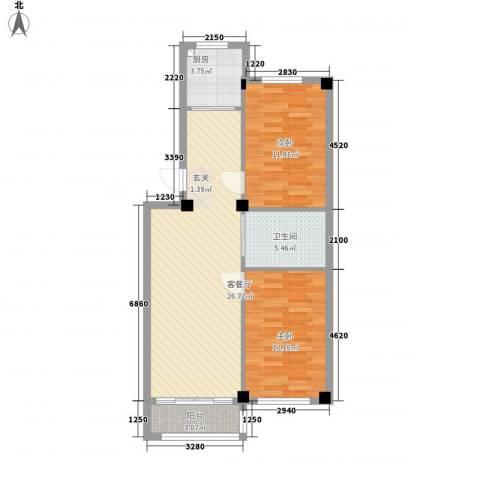 丽景家园2室1厅1卫1厨63.03㎡户型图
