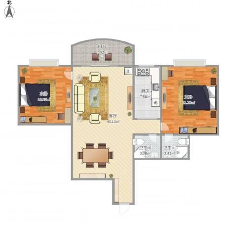 东方花园2室1厅2卫1厨138.00㎡户型图