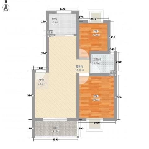 翰林湖畔2室1厅1卫1厨65.00㎡户型图