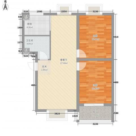 翰林湖畔2室1厅1卫1厨64.84㎡户型图