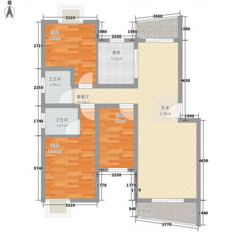 翰林湖畔3室1厅2卫1厨75.40㎡户型图