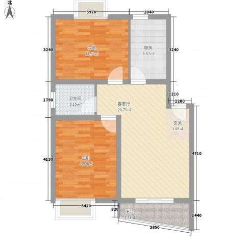翰林湖畔2室1厅1卫1厨81.00㎡户型图