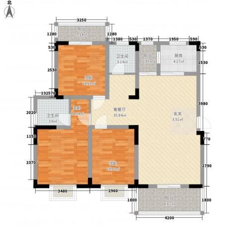 永佳・新城壹号3室1厅2卫1厨92.77㎡户型图