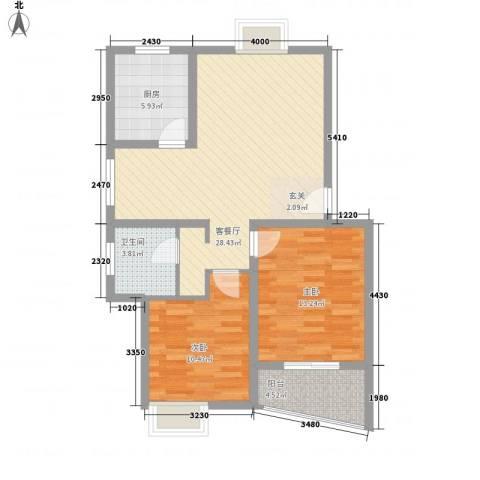 翰林湖畔2室1厅1卫1厨66.40㎡户型图