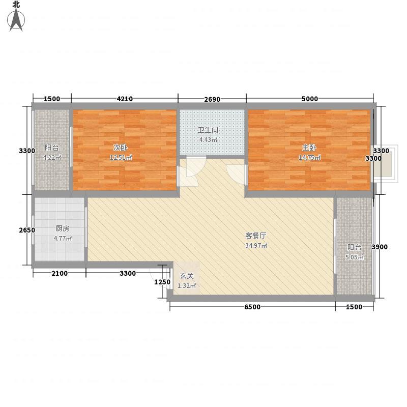 汉中东盛名居户型2室1厅1卫1厨