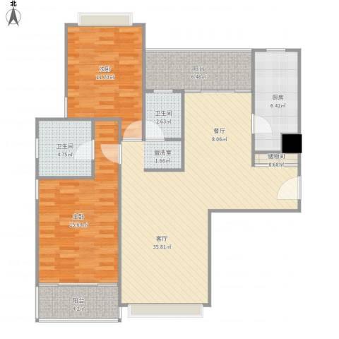 远中风华园-02-05012室1厅2卫1厨120.00㎡户型图