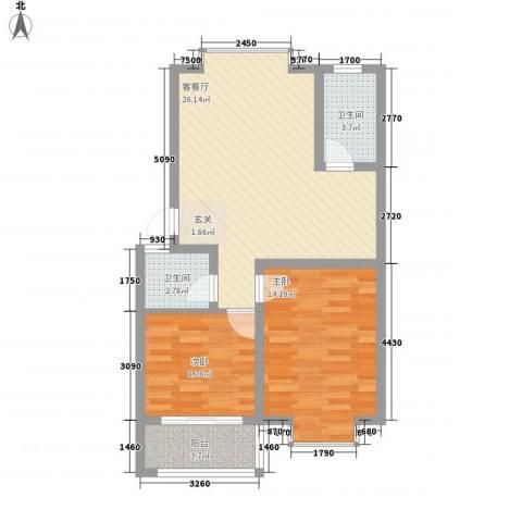 清华园2室1厅2卫0厨85.00㎡户型图