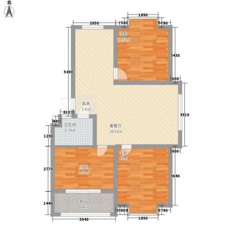 清华园3室1厅1卫0厨101.00㎡户型图