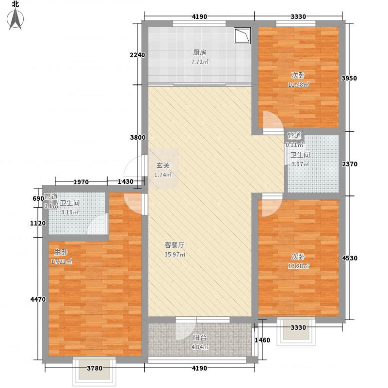 文锦苑21513.42㎡单页户型3室2厅2卫1厨