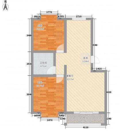 清华园2室1厅1卫0厨92.00㎡户型图