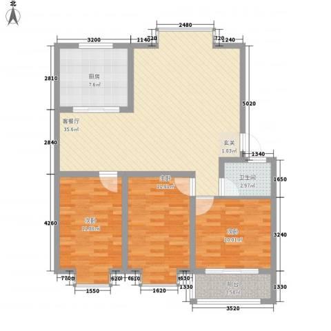 清华园3室1厅1卫1厨118.00㎡户型图