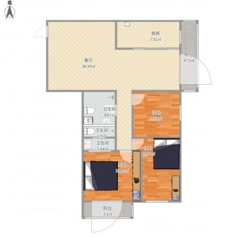 安慧北里逸园3室1厅3卫1厨131.00㎡户型图