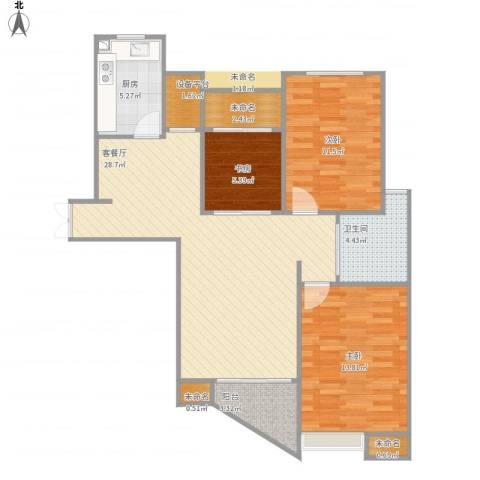 郦城国际3室1厅1卫1厨106.00㎡户型图