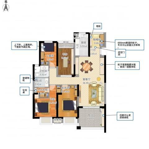 蓝鼎滨湖假日翰林苑3室1厅4卫1厨148.00㎡户型图