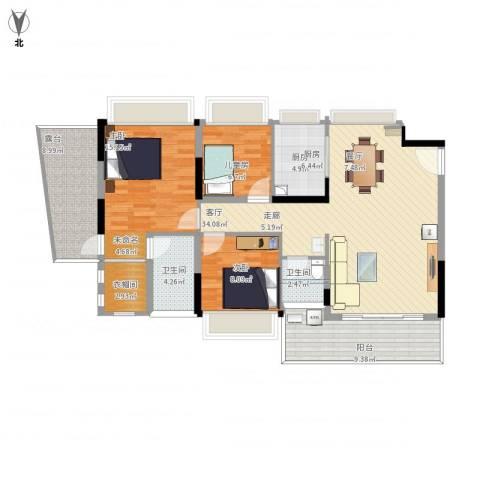 红棉雅苑3室1厅2卫1厨137.00㎡户型图
