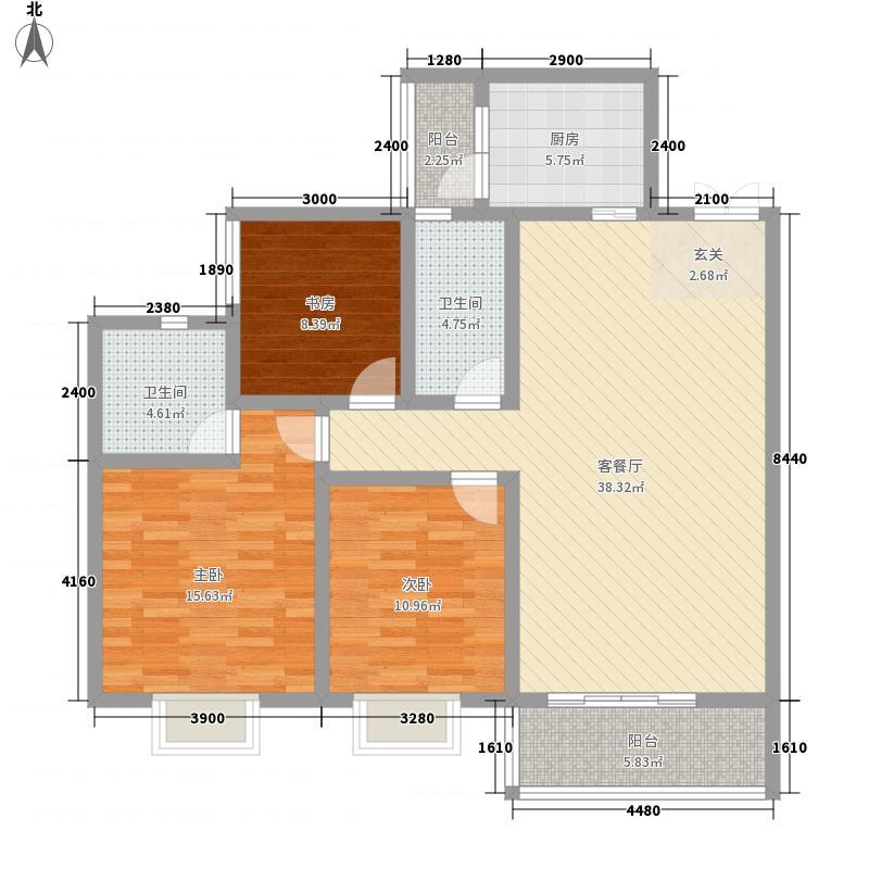 中国草海国际养生基地122.32㎡洋房A户型3室2厅2卫1厨