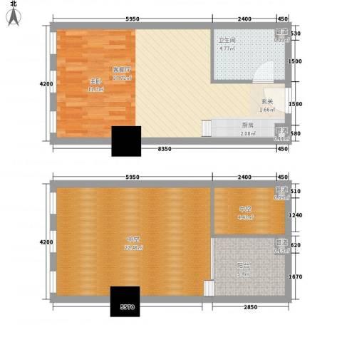 新建Soho1厅1卫0厨65.23㎡户型图