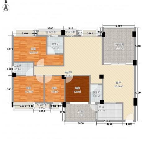 丽景华庭4室1厅5卫2厨155.00㎡户型图