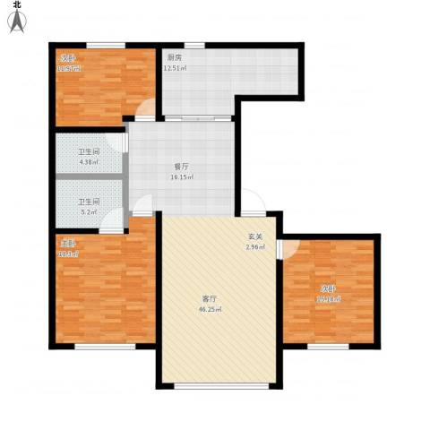 昆仑唐人中心3室1厅2卫1厨160.00㎡户型图