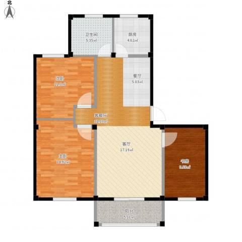 东海明园3室1厅1卫1厨112.00㎡户型图