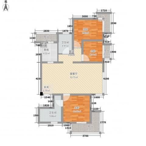 教授花园IV期碧山临海3室1厅2卫1厨125.00㎡户型图