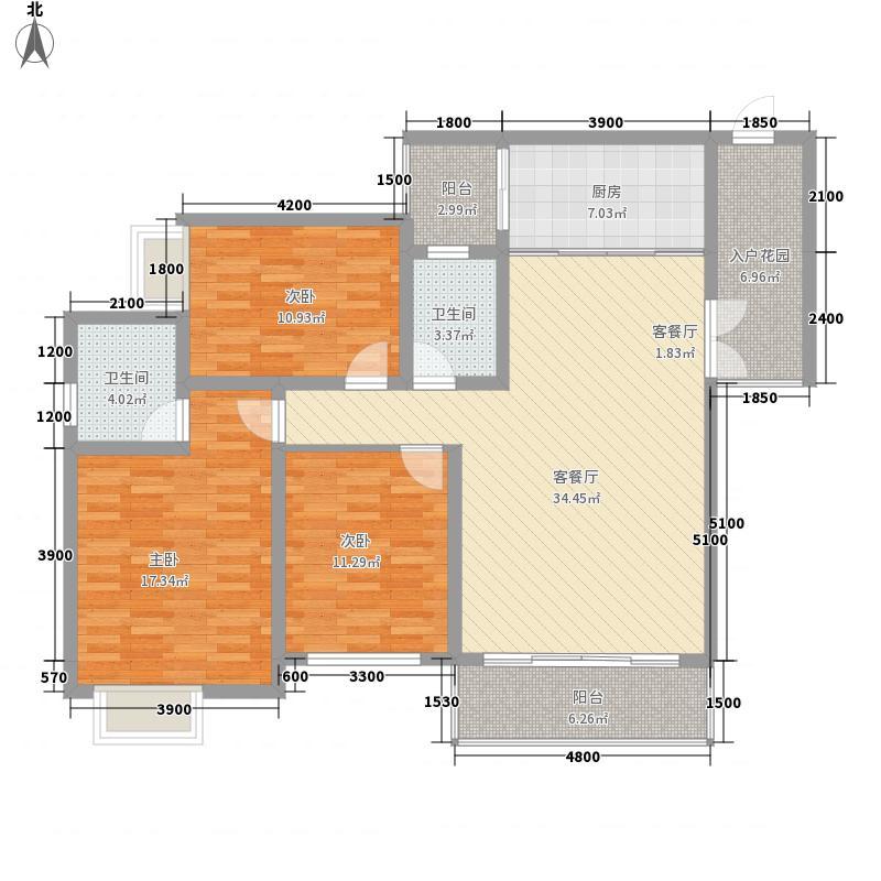 升华广场513.32㎡5E型双卫户型3室2厅2卫1厨