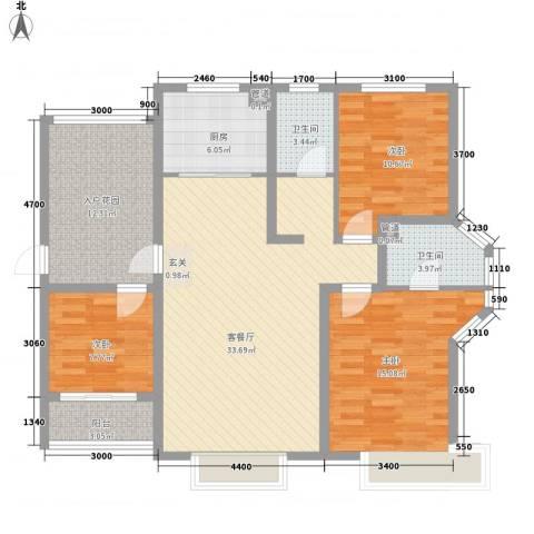 祥荣・香榭名筑3室1厅2卫1厨133.00㎡户型图