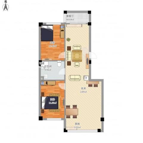 名仕家园2室1厅1卫1厨106.00㎡户型图
