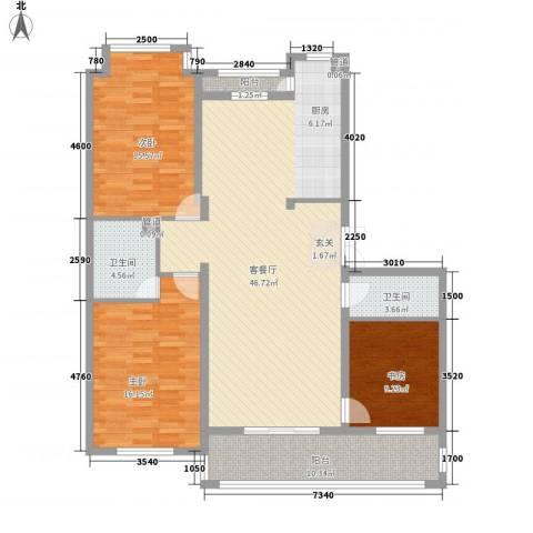 伸马梧桐湾3室1厅2卫0厨152.00㎡户型图