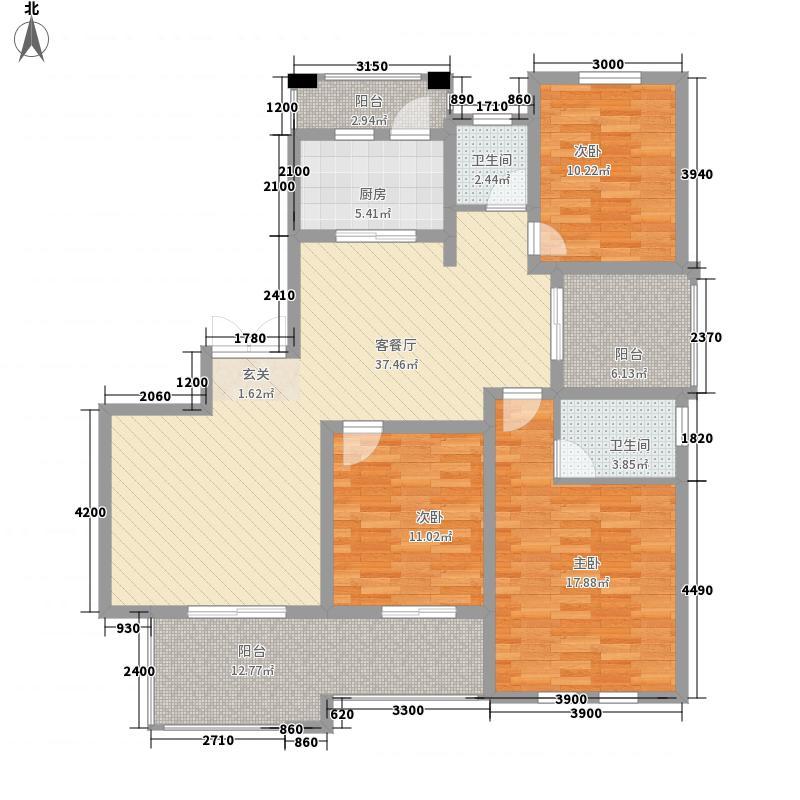 万和・九龙湖143.00㎡湖景高层户型3室2厅