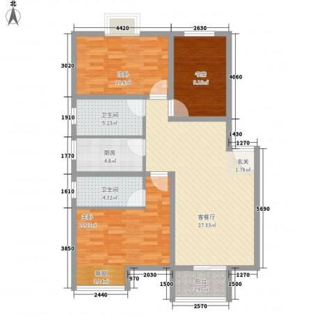 翰林湖畔3室1厅2卫1厨116.00㎡户型图