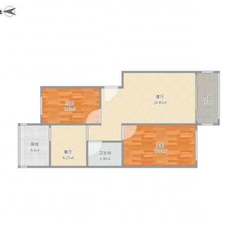 怡苑小区2室2厅1卫1厨85.00㎡户型图