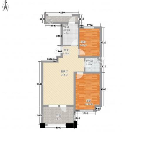 丰远・泗水玫瑰城2室1厅1卫1厨89.00㎡户型图